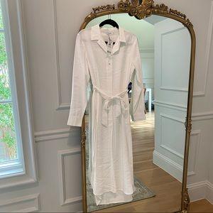 MANGO White Tie Waist Shirtdress